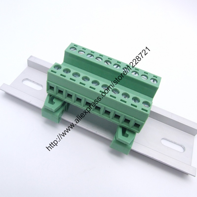 1Set Terminal screw PCB plug connection terminal 5.08mm 2/3/4/5/6/7/8/9/10 Pin NS35mm Din Rail Mounting Pluggable pcb connector 50pcs uk5 twin uk5rd 4mm2 din rail screw clamp fuse terminal blocks connector