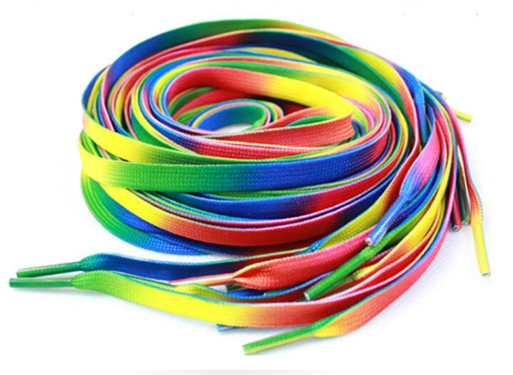 1 PAIR 100cm Unisex Rainbow Flat Sports Shoe Laces Shoelaces Nylon Strings Strap for Sneakers rainbow shoelace