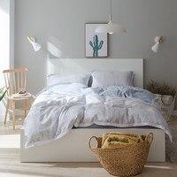 2017 Fashion Light Gray Duvet Cover Pillowcases Blue Gray Bedsheet Queen King Size Tencel Bamboo Fiber