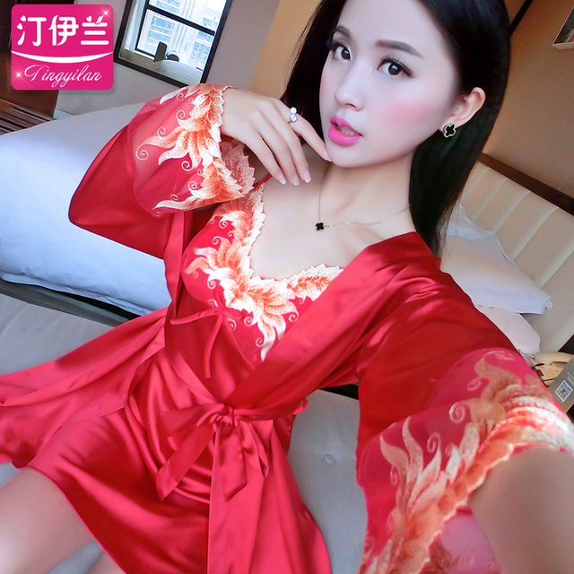 Ms Spring and summer Sexy Two sets of bathrobes Harness Sleeve Set Tracksuit
