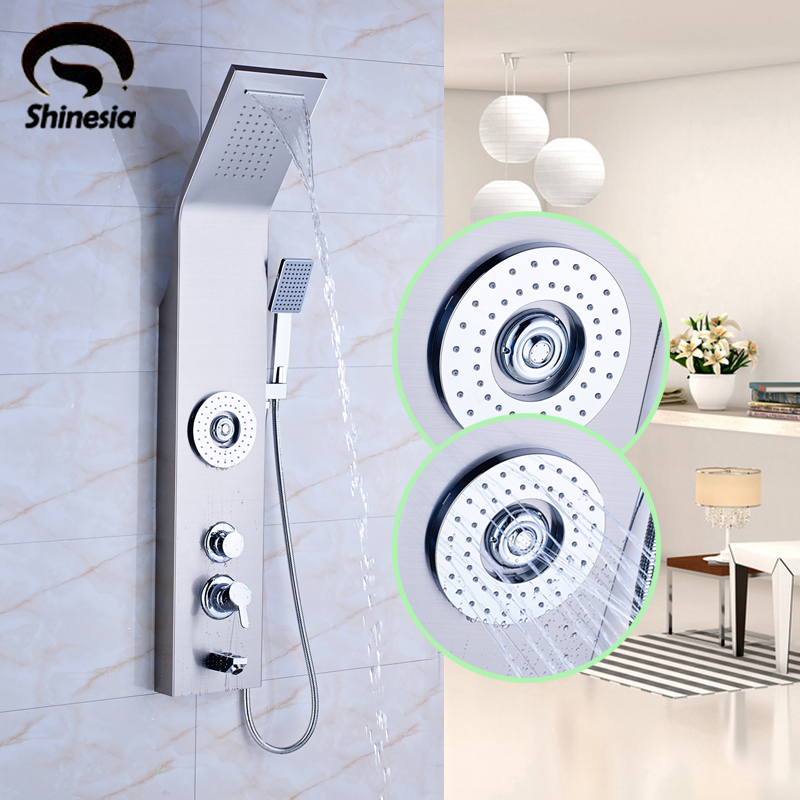Nickel Brushed Bathroom Shower Faucet Massage Jet Shower Panel Single Handle Tub Mixer Tap with Handheld Sprayer