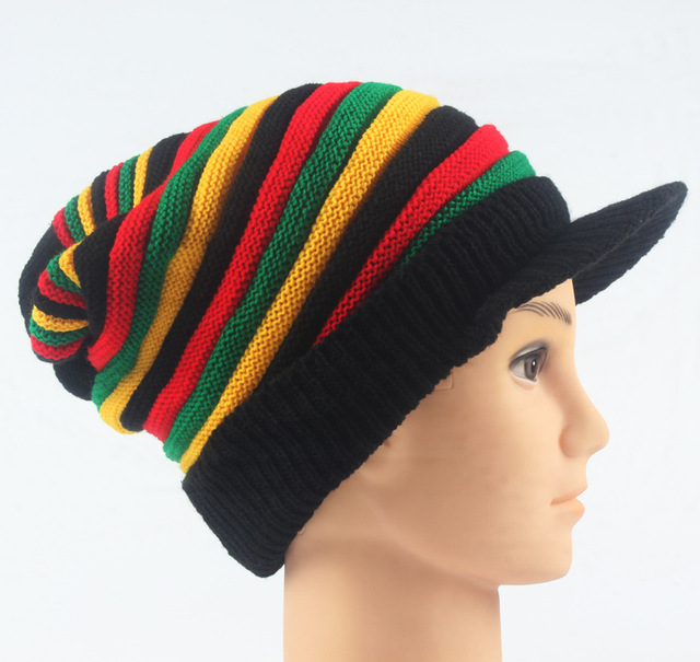 d2dc5581562 Multi colored Bob Marley Jamaica Rasta Beanie Hat Warm Cap Winter-in ...