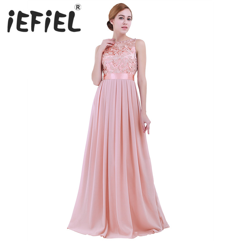 iEFiEL Embroidered Women Ladies Sleveless Chiffon Lace Dress Long Party Pageant Bridesmaid Wedding Formal Summer Maxi Dress