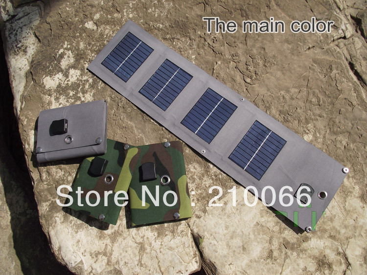 solar bank 5W solar charger waterproof foldable USB outdoor sunpower recharge mobile phone digital flexible high free shipping
