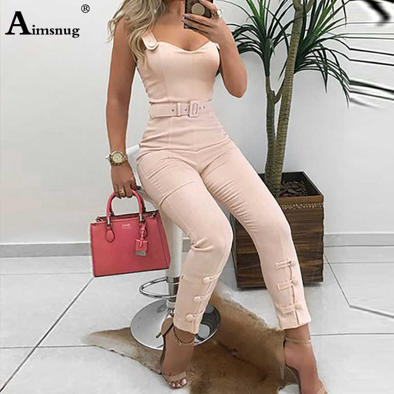 Office Lady Elegant Leisure Overalls Skinny Slim Fit V-Neck Sleeveless Casual Romper Thin Strap Button Design Summer Jumpsuits
