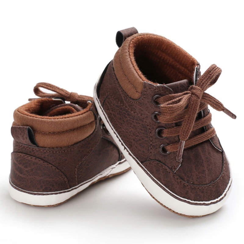 Infant Anti-slip Sneaker Newborn Baby Boy Girl Soft Sole First Walkers PU Breathable Solid Crib Shoes 0-18M