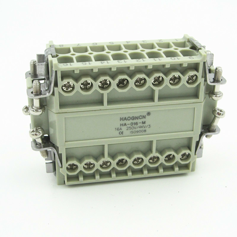 HDC-HA-016M/F Heavy Load Connector Heat Flux Avenue Plug-in Unit 16 Core 16A Screw Type heavy duty connectors hdc he 024 1 f m 24pin industrial rectangular aviation connector plug 16a 500v