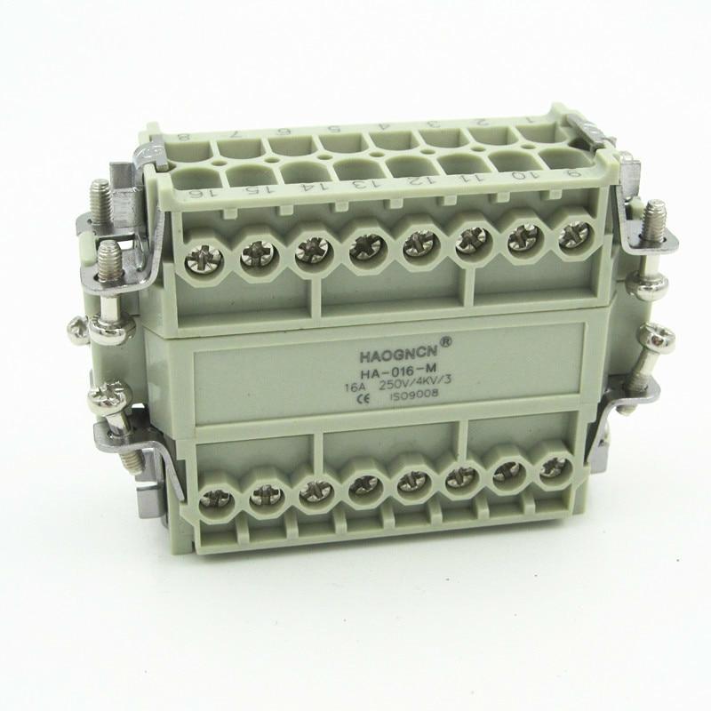 HDC-HA-016M/F Heavy Load Connector Heat Flux Avenue Plug-in Unit 16 Core 16A Screw Type heavy duty plug connector hdc ha 004 1 f m 4 1pin 5pin 10a power connectors rectangular aviation plug