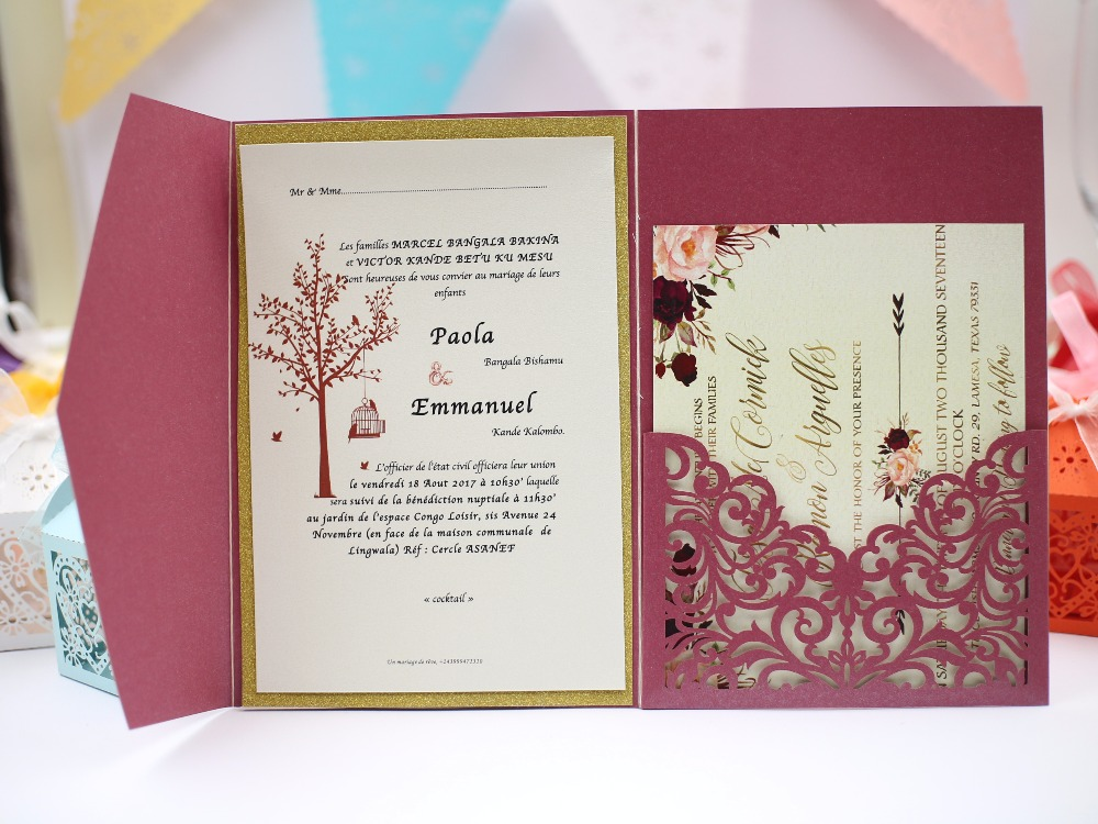 Wedding Invitations Card Design: 2017 New Style Burgundy Tri Fold Laser Cutting Elegant