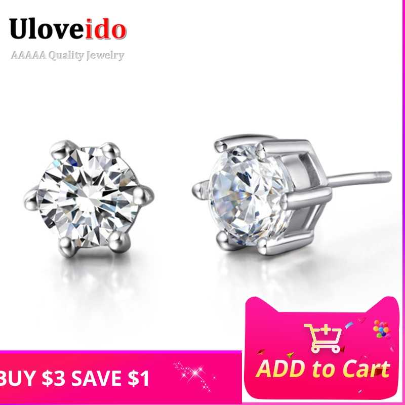 d85aa0d81 Uloveido Wedding Earrings for Women Stud Earring White Crystal Jewelry  Earings with Stones Female Birthday Gifts