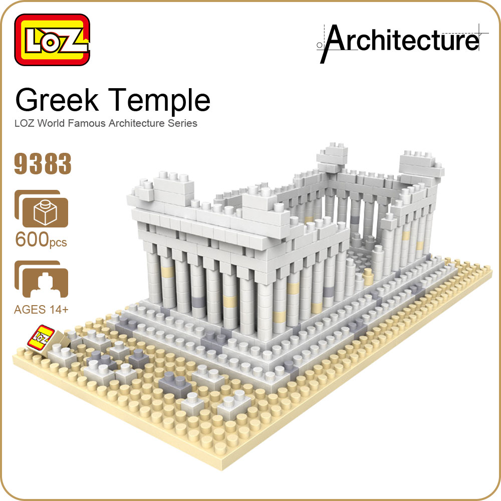 LOZ Architecture Toy Diamond Blocks Dans Blocks Greek Temples Micro Building Bricks Set Plastic Assembly Toys Kits DIY Gift 9383 loz diamond blocks dans blocks iblock fun building bricks movie alien figure action toys for children assembly model 9461 9462