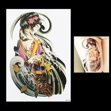1pc Sexy Women Men's Fake Fish Carp Beauty Geisha Girl Flower Picture Design HB266 Temporary Body Art Tattoo Sticker