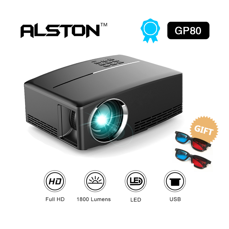 ALSTON  1800 Lumens 4K HD Projector LED Video Proyector GP80 Portable Smart Projectors (Optional GP80UP Android 6.01 OS ,WiFi) Проектор