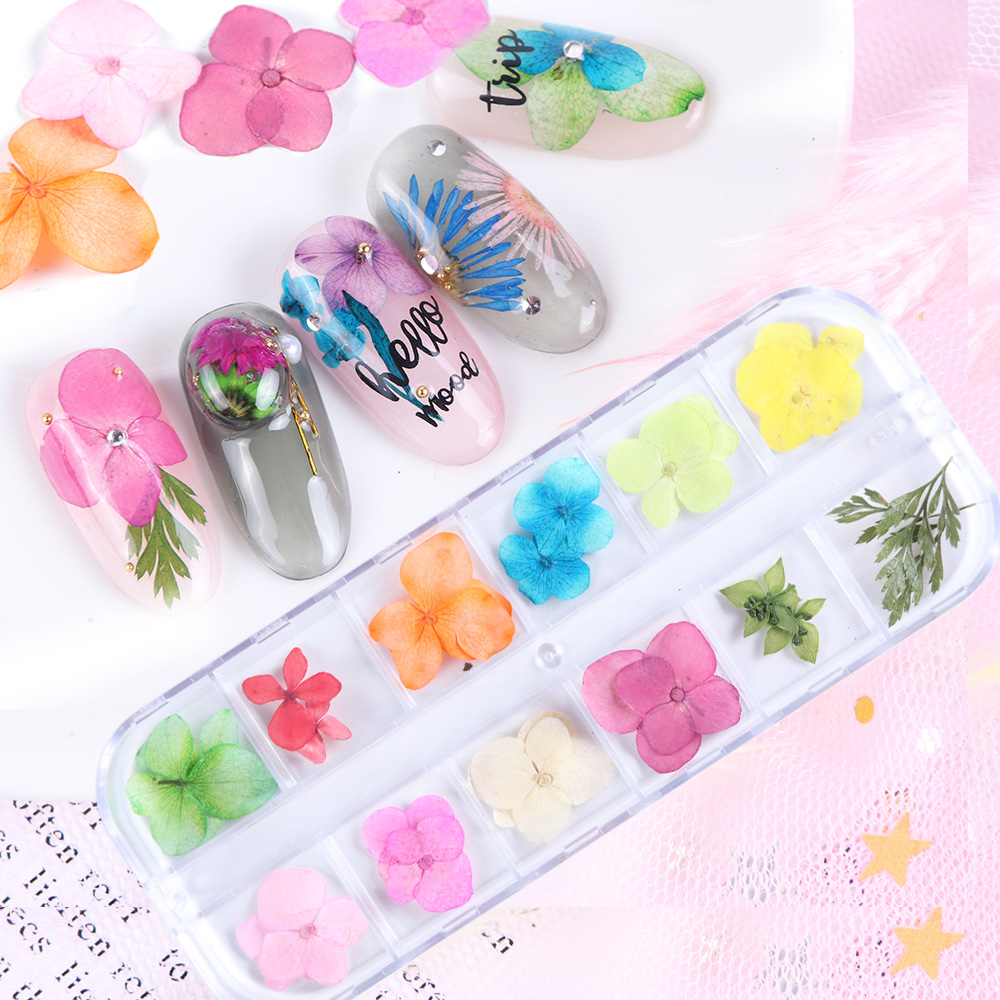 Mixed Dried Flowers Nail Decorations Jewelry Natural Floral Leaf Stickers 3D Nail Art Designs Polish Manicure Accessories (7)
