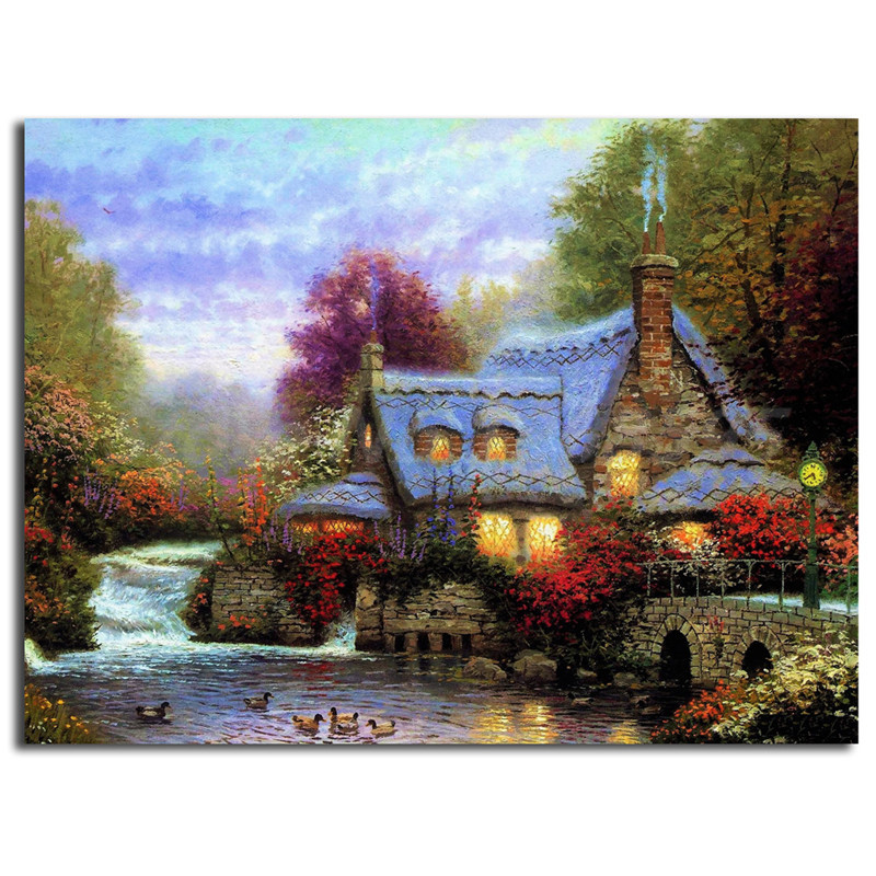 Thomas kinkade the miller 39 s cottage canvas painting print - Home interiors thomas kinkade prints ...
