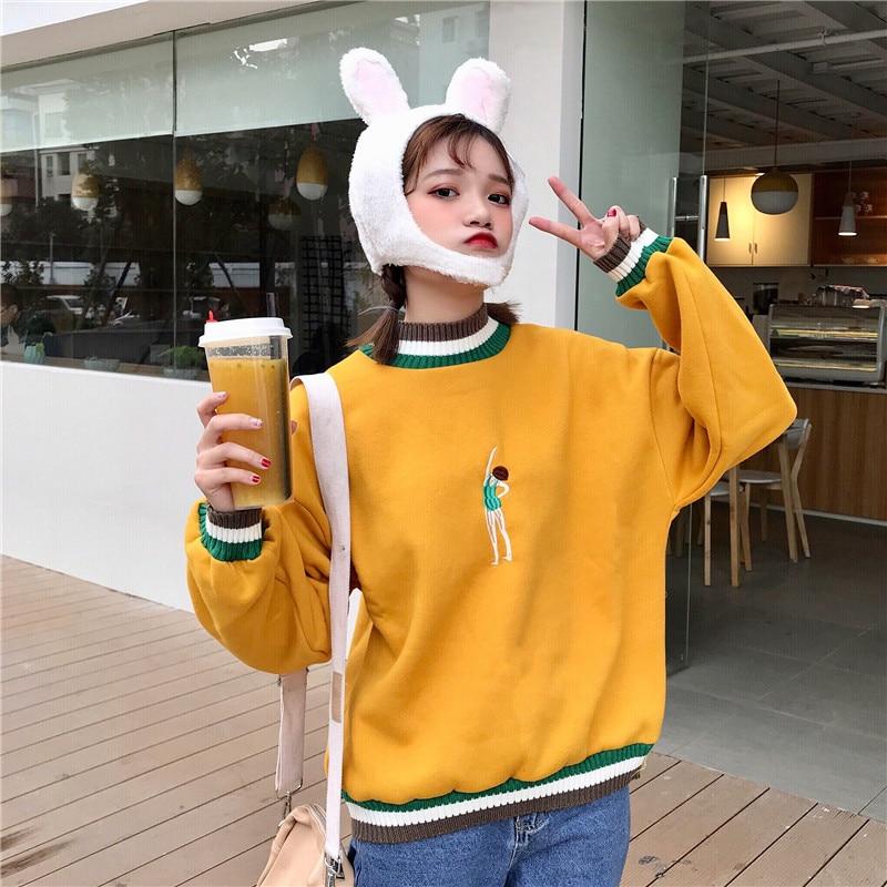 Harajuku Bishop Hoodies 2018 Women Print Sweatshirts High Neck Wool Clothe Feminina Loose Female Casual Coat Stuent Warm Sweats