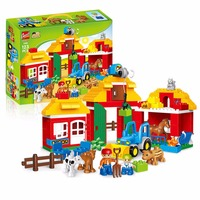 Legoily Big Building Blocks Happy Farm Zoo With Animals figures 123PCS City Toy For Children Compatible With Legoingly WY30