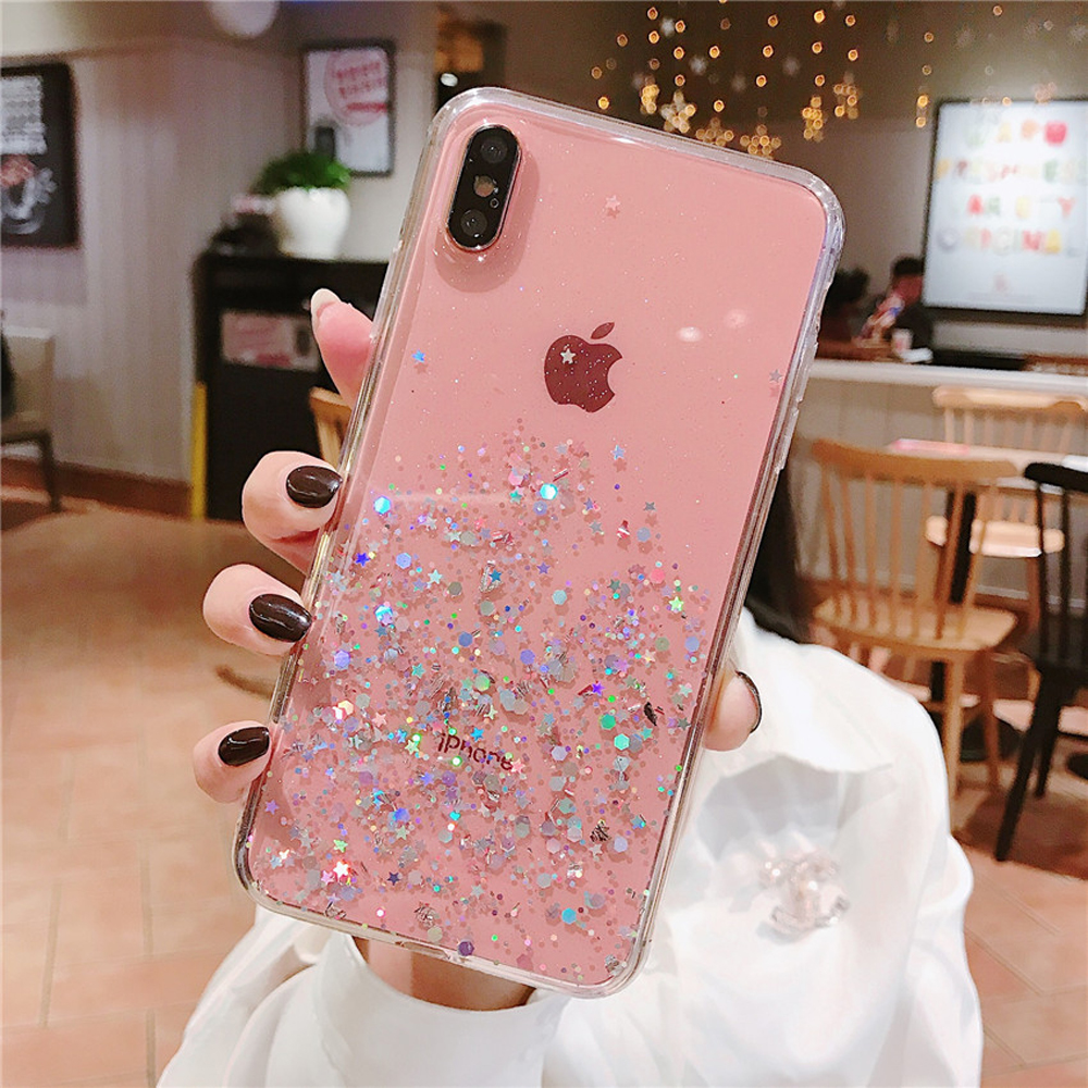 Heyytle Glitter Bling Sequins Case For iphone 8 7 Plus 6 6s Epoxy Star Transparent Case For iphone X XR XS MAX 10 Soft TPU Cover slip-on shoe
