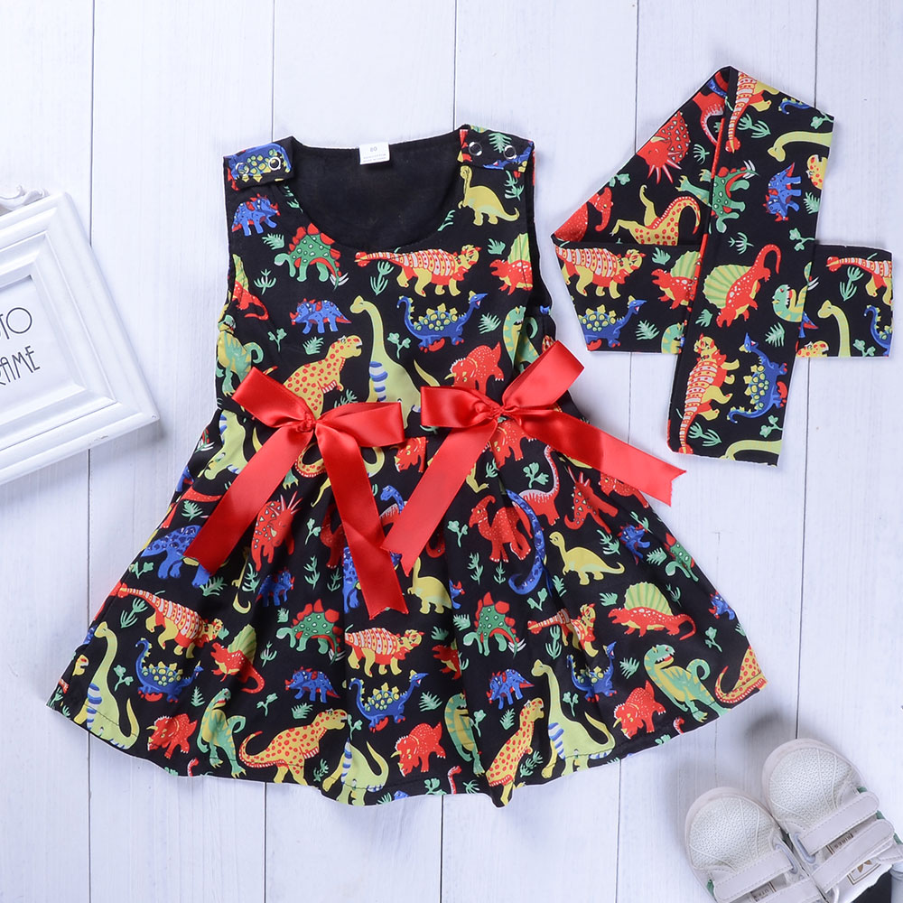New girls foreign trade sleeveless Princess dinosaur Princess Dress Baby girl clothes 2018 new summer Bow dress scarf