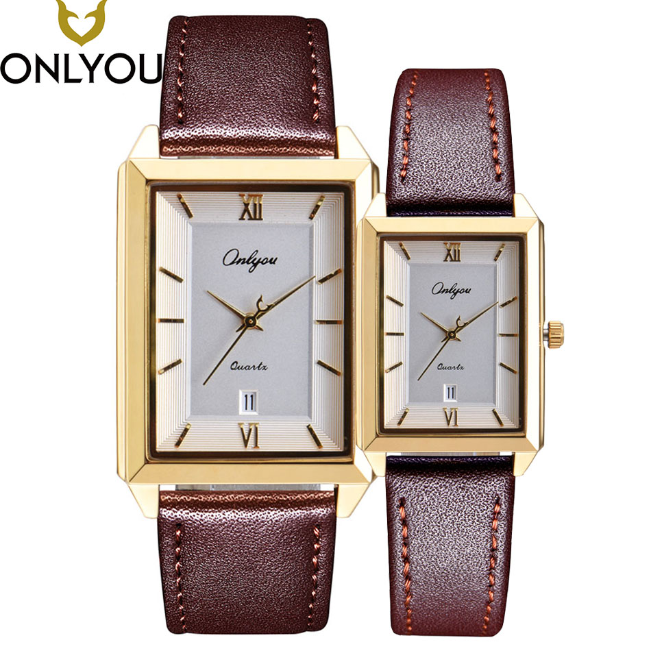 ONLYOU Lover Watches Women Fashion Watch Men Luxury Business Quartz Square Clock Ladies Dress Wristwatch Valentine's Day Gift new fashion wooden watches men luxury brand modern wood wristwatch quartz day date square clock male business dress watch
