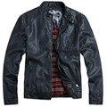 TOP New HOT GENTLEMEN'S Black pu leather classic Motorcycle jacket Coat