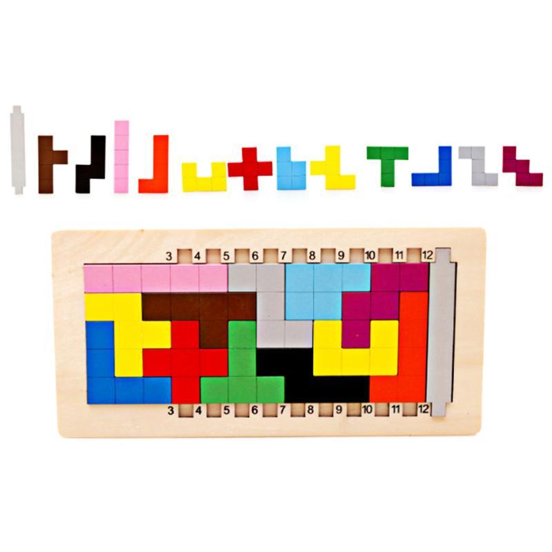 Bunte Holz 3D Puzzles Spielzeug Kinder Tangram Tetris Spiel Brain Teaser Spielzeug Kinder Vorschule Pädagogisches Spielzeug Puzzle Spielzeug