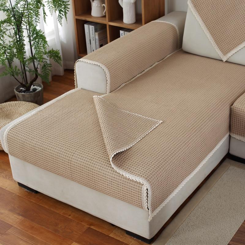 1 pcs linen Quilt Sofa Cover Armrest Slipcover Couch Covers Set