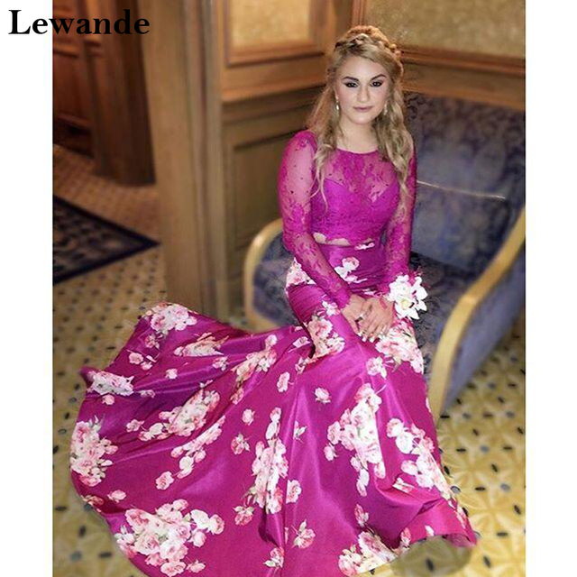 1908c6fc600a Lewande Lace Two Piece Floral Print Prom Homecoming Dress Long Sleeve  Mermaid Beaded Plum Satin Illusion Bridesmaid Gown 50488
