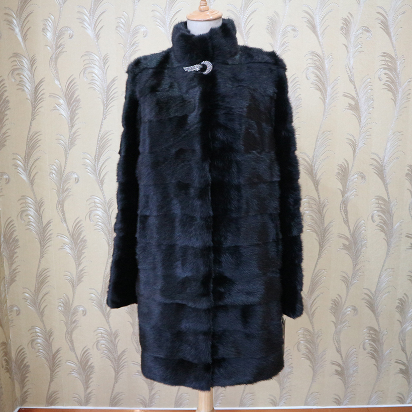 XINYUXIANG 2018 Customize Real Mink fur Coats Women Winter Fashion Thick Warm Outwear black Female Natural mink Fur Long jackets