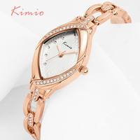 KIMIO Brand High Quality Thin Oval Rhombus Rose Gold Rhinestone Watch Women Crystal Ladies Designer Wrist