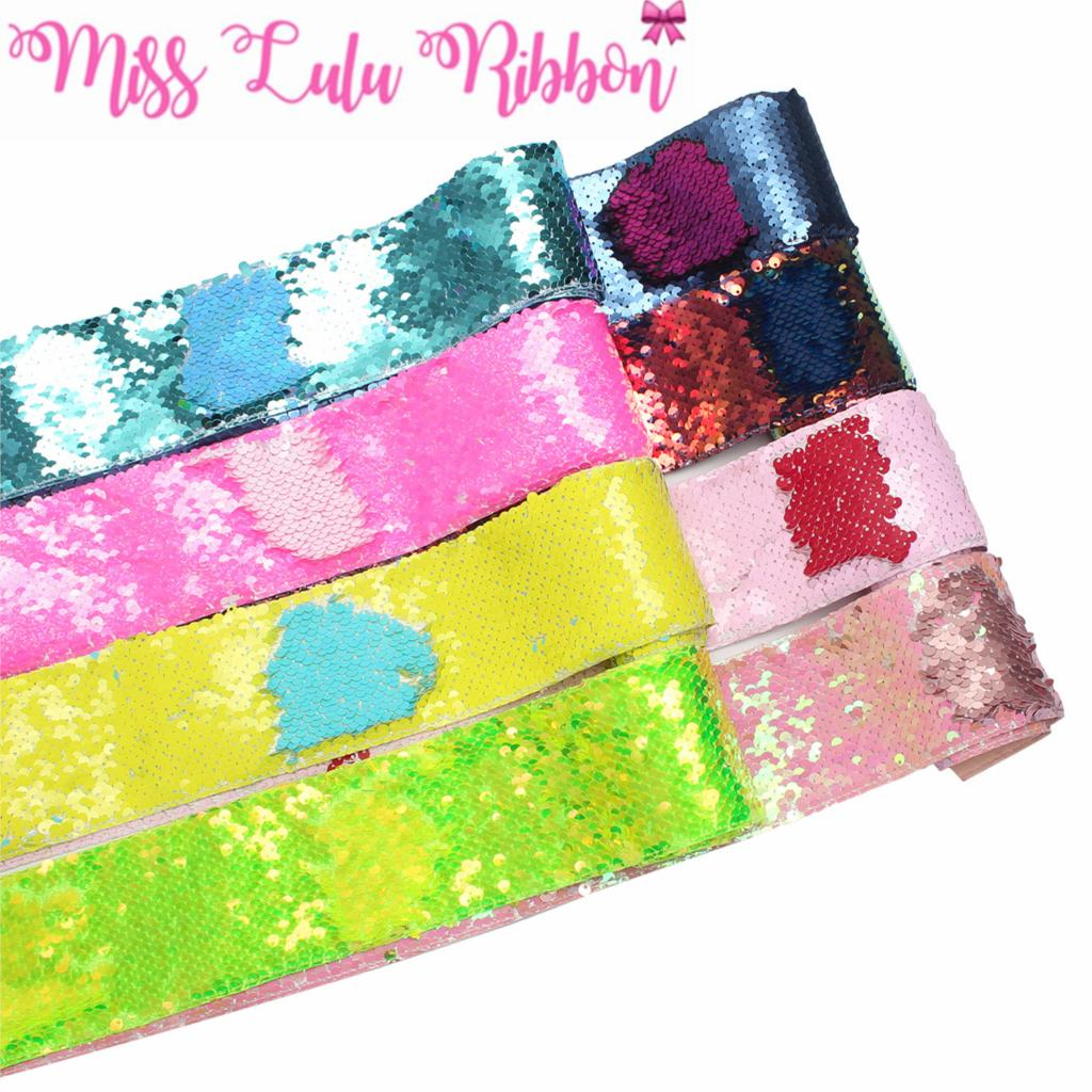 3 75mm Double Color Reversible Sequin Ribbon Neon Pink Green Navy Yellow DIY Wedding Gift Bowknot
