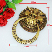 Yellow Brass Chinese Vintage Lion Head Furniture Door Pull Handle 130 188mm