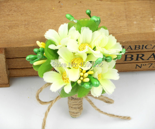 Wedding Groom Boutonniere Men Corsage Ivory Green Bridegroom Best man Suit Corsage Bridal Shower Charity Party Prom Accessories bridal shower