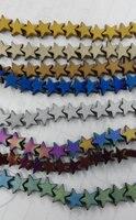 2 strengen 6 8 10mm Hematiet Sieraden Hematiet crystal hematiet star gesneden spacer kralen connector kralen zilver goud gunmetal