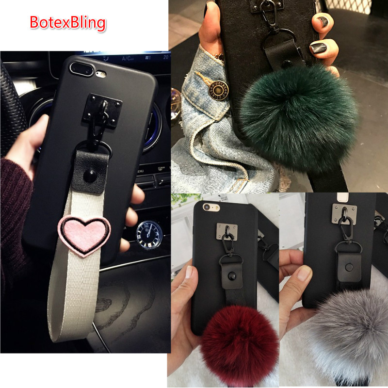Luxury Fluffy Fox Fur Ball Silicone Strap Case For Samsung Galaxy Note9 S9 Plus S8 S7 Edge S6 Note8 S10plus S10 E J5 J7 M10 M20 Customers First Phone Bags & Cases