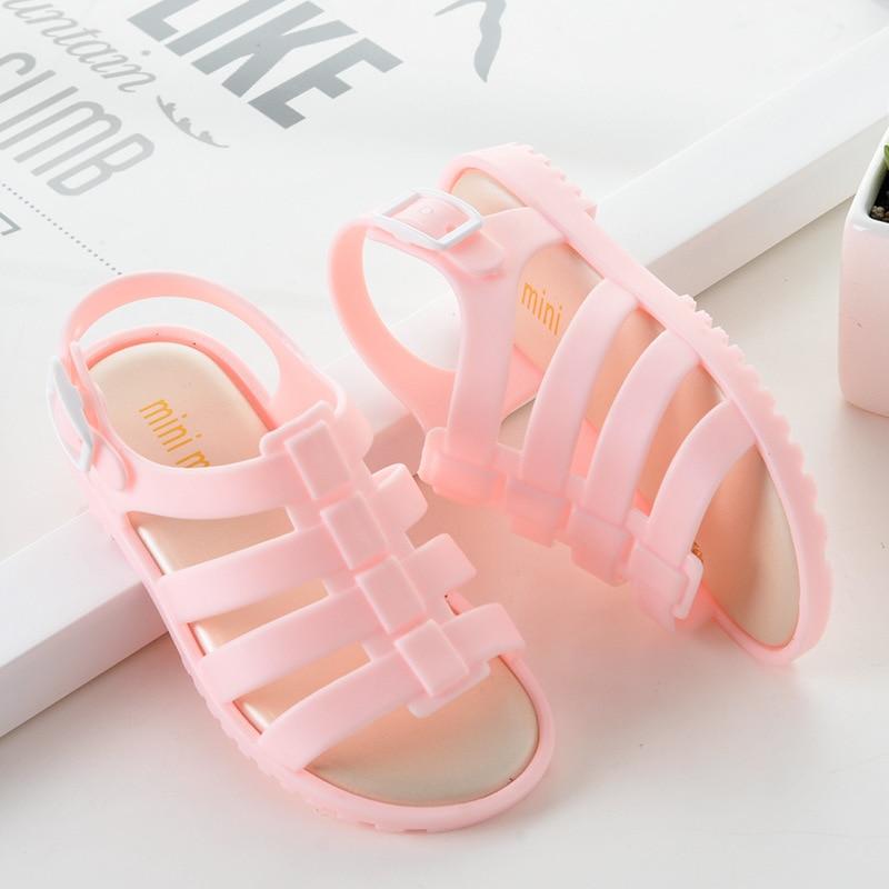 Mini Melissa Children Fashion Summer Kids Casual Hollow Striped Buckle Etal Princess Clear Clogs Mules Girls Jelly Shoes Sandals