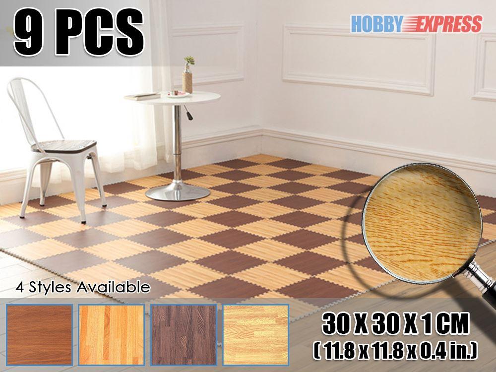 New 9 Pcs Interlocking Wooden Design Eva Gym Kids Play Foam Floor