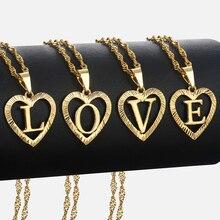 Женские Девушки A-Z ожерелье с кулоном в форме сердца золото Алфавит Шарм ювелирных изделий Валентина Подарки для женщин