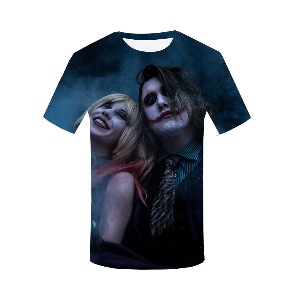 Джокер, клоун, Мужская 3D футболка, женские топы со всеми принтами, футболки 2019, модная панковская футболка в стиле хип-хоп, повседневная одежда больших размеров