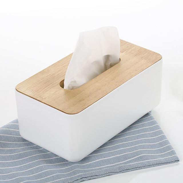 Beste Classic Eenvoudige Plastic Tissue Box Dispenser Met Eiken Houten BI-68