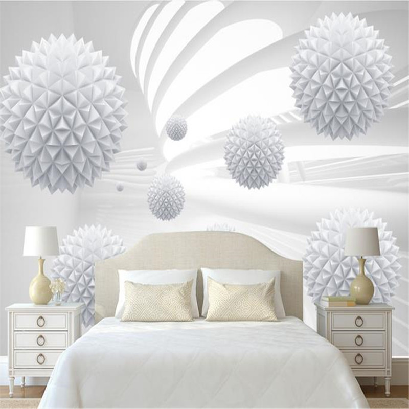 Modern 3D Murals Wallpapers Custom Photo Wallpapers for Living Room White Ball Geometric Wall Papers Home Decor Bedroom Murals sea world 3d wallpaper murals for living room bedroom photo print wallpapers 3 d wall paper papier modern wall coverings