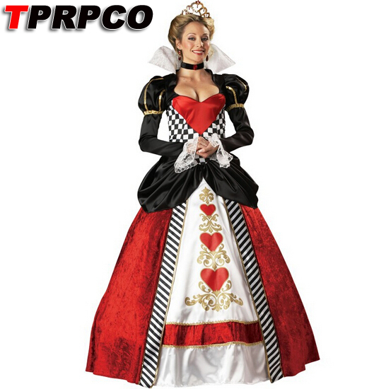 TPRPCO Alice In Wonderland Cosplay Costume Queen Of Hearts Costume Red Queen Costume Female Elegant Dress Cosplay NL225