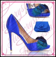 Aidocrystal women fashion leather shoes with feather Wholesale shoe and bag set royal blue shoes and matching bag