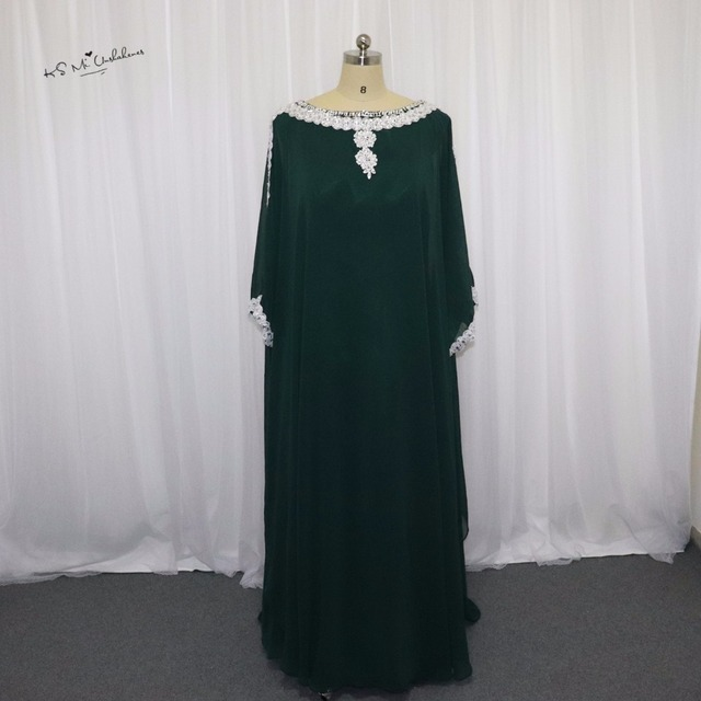 Pretty Moroccan Kaftan Evening Dress Turkish Evening Gowns Abaya Green  Beaded Muslim Evening Dress Islamic Dubai Prom Gowns a4142740364c