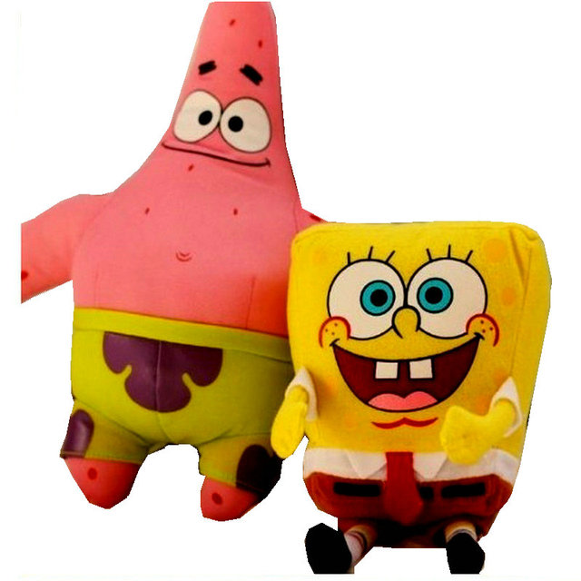 2PCS 30 37CM SpongeBob Plush Toys Doll For Children Holiday Gift Soft Anime  Cute Furniture