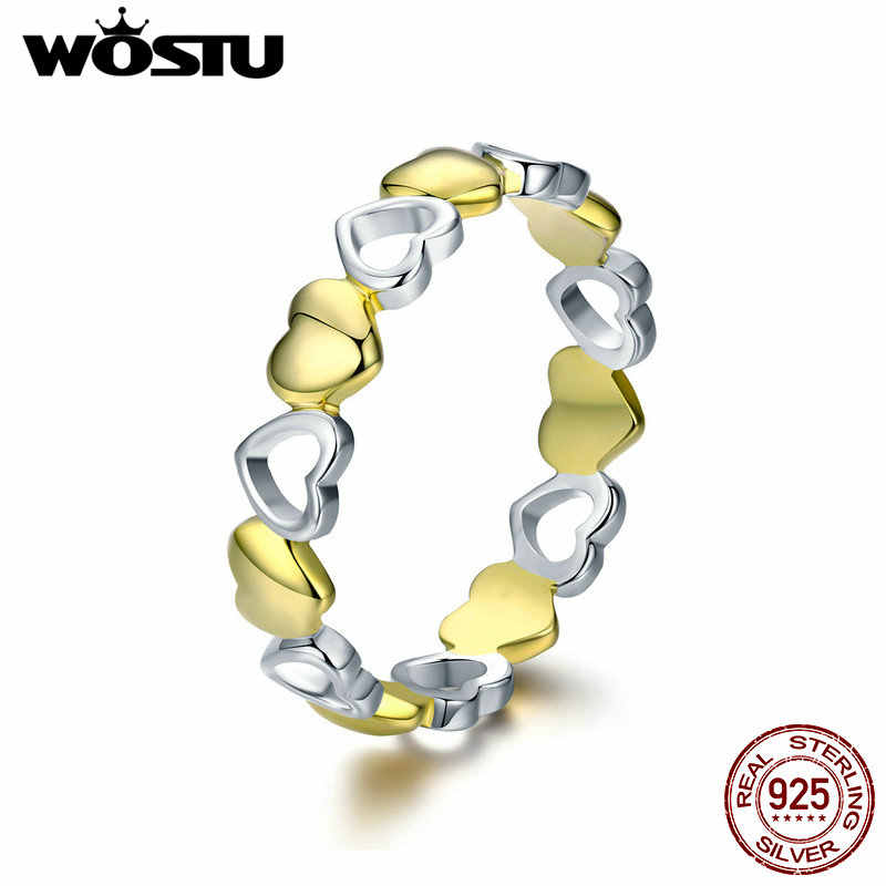WOSTU Real 925 Sterling Silver Stackable Gold Color Heart Ring for Women Luxury Brand Anniversary Jewelry Gift For Wife CQR317