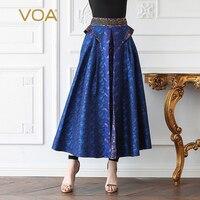 Voa шёлковый жаккард линии юбки Для женщин Длинные Вечерние юбка плюс Размеры 5XL принт синий Винтаж элегантный Harajuku Высокая Талия Весна C372