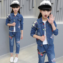 Children's clothing butterfly print 2018 new baby girl clothes denim set spring and autumn children's cowboy  leisure jean suit