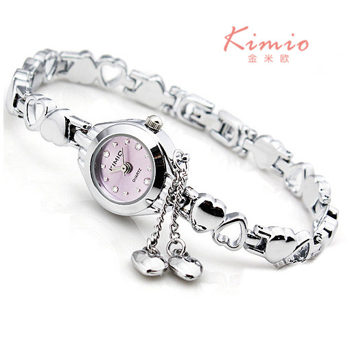 KIMIO Women Bracelet Watch Ladies Tassel Dress Quartz Watch Clock Hollow Love Hearts Steel Strap Wrist Watch Montre Femme