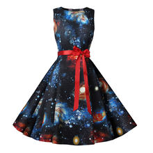 Summer Dress Women New Planet Print Vintage Dress With Belt Sleeveless Elegant Lace Party Retro 50s 60s Country Dresses Sundress(China)